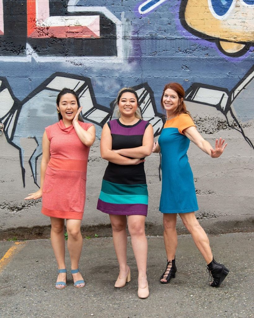 Vivid Element dresses with graffiti background