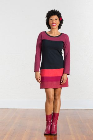 Long Sleeve Poppy Dress in Mars Reds