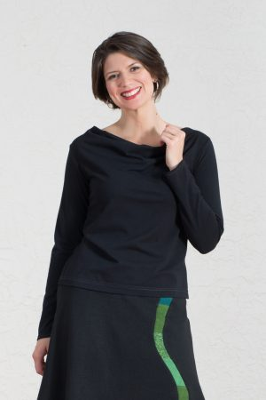 Saturn Top in Black Poppy or Stellar Blue with sleeve options