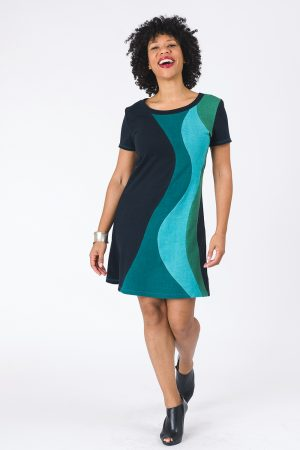 Solar Flare Dress in Ocean Blues and Greens