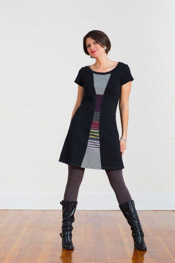 Vivid Element | Time Travel dress Striped collage D