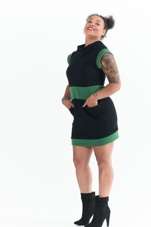 Evergreen Dress in Black and Leaf Green Natural Fleece