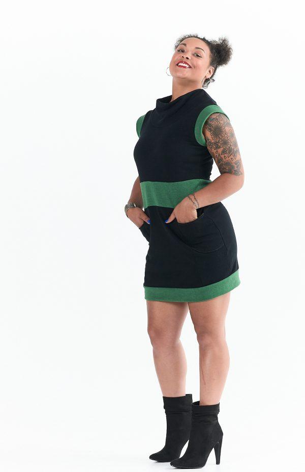 Vivid Element Evergreen Dress in Black and Green Fleece