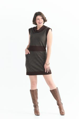 Evergreen Dress in Jupiter Brown Stripes