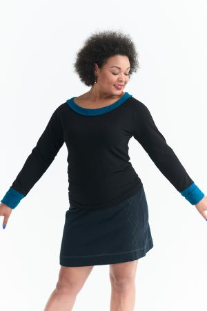 Mercury Top in Black with Blue or Red Trim