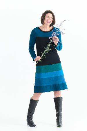 Long Sleeve Poppy Dress in River Blues with Added Length