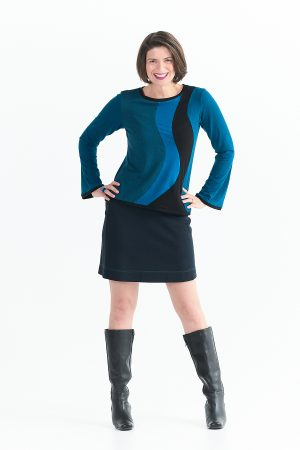 Ripple Top with Long Sleeves in Blues
