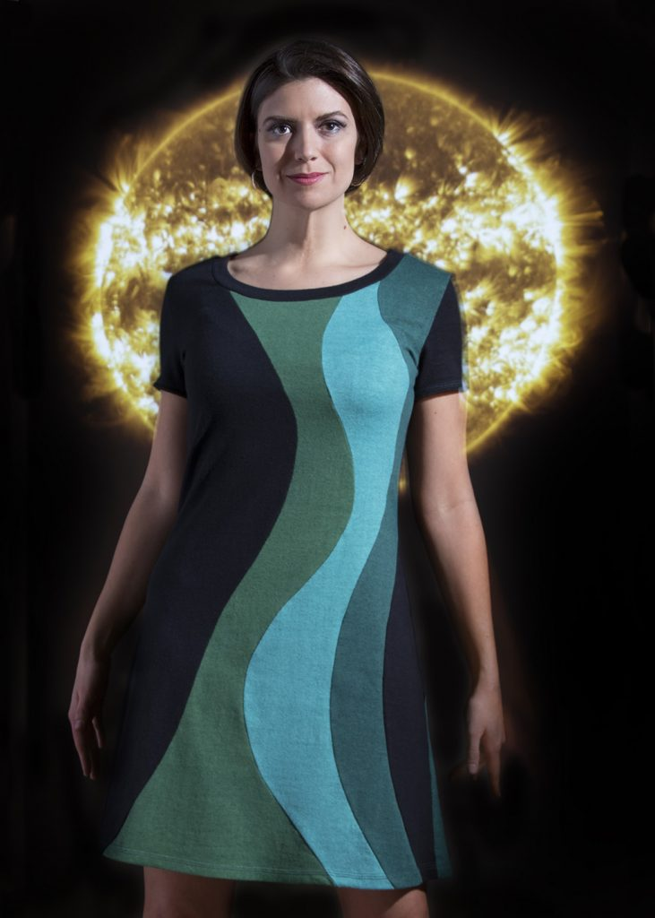 Solar flare dress with NASA background