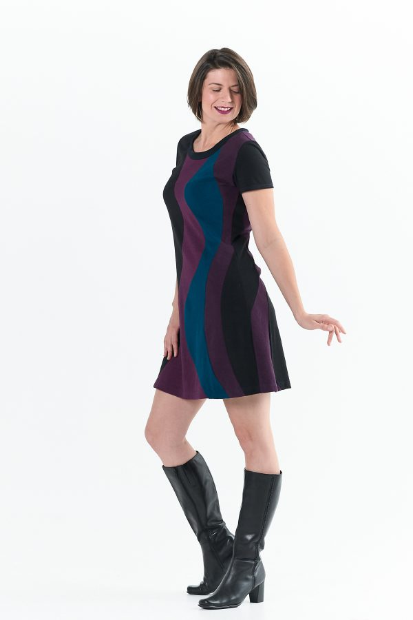 Vivid Element Solar Flare Dress side view shows swirls that wrap around the body