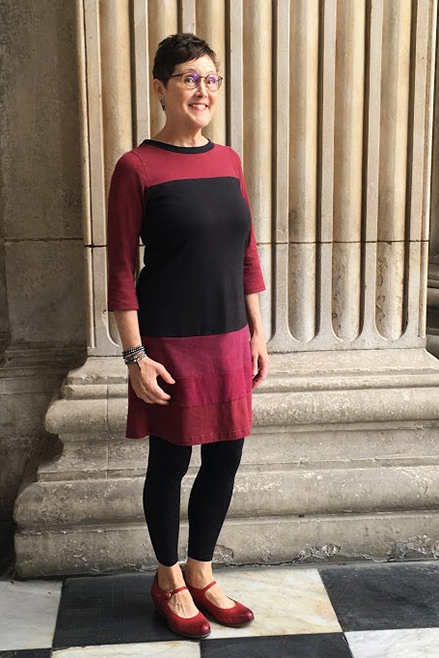 red and black long sleeve hemp vivid element dress on lady in London