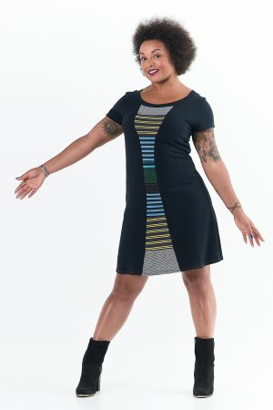 Time Travel Dress with Striped Collage