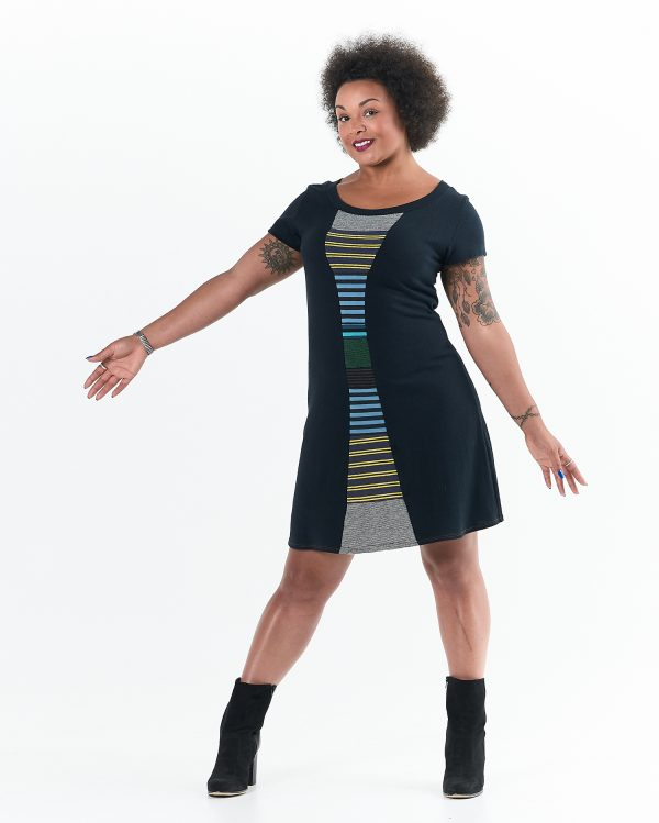 Vivid Element | Time Travel dress Striped collage