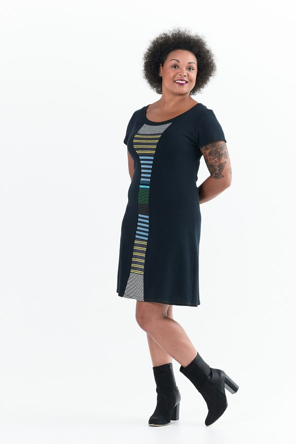 Vivid Element | Time Travel dress Striped collage B