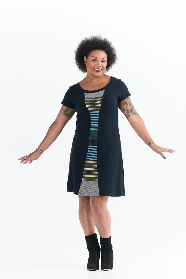 Vivid Element | Time Travel dress Striped collage A