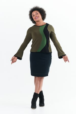 Ripple Top with Long Sleeves in Caper Greens