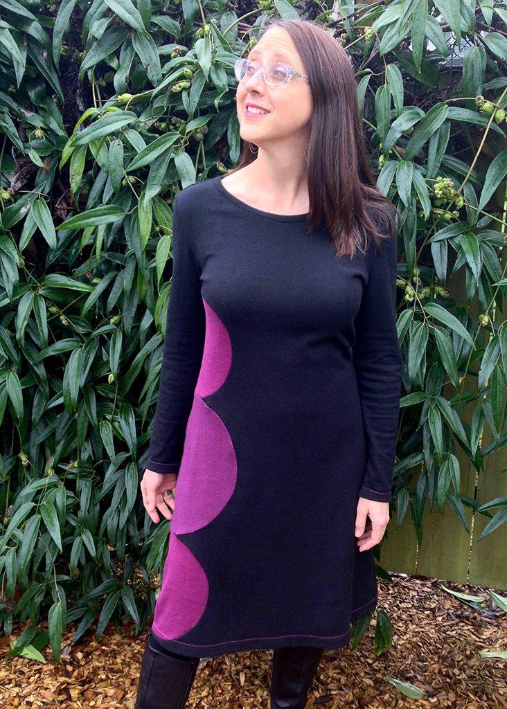 zinnia dress in black and purple