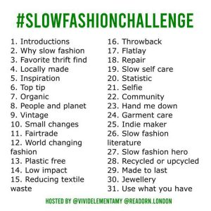 slow fashion challenge 2019 prompts
