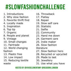 slow fashion challenge 2019 prompts