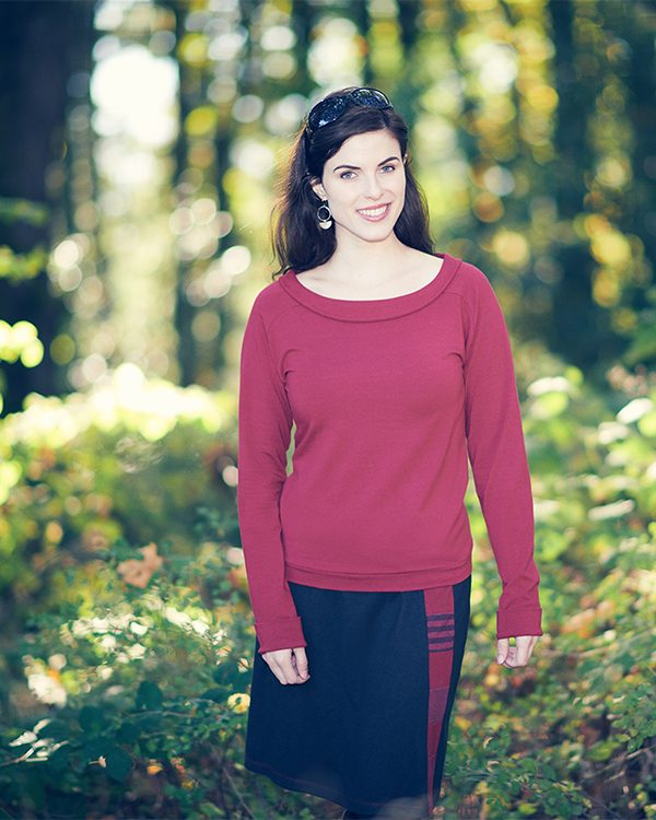 Vivid Element sale organic fabric red size small Mercury Top on Alysse in the woods