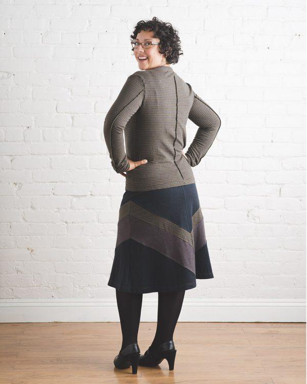 back view of Vortex Skirt shows brown chevron design on back