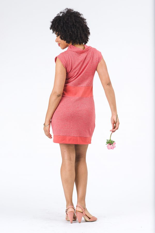 Soft orange dress back, it's just above the knee and the model has an anemone flower