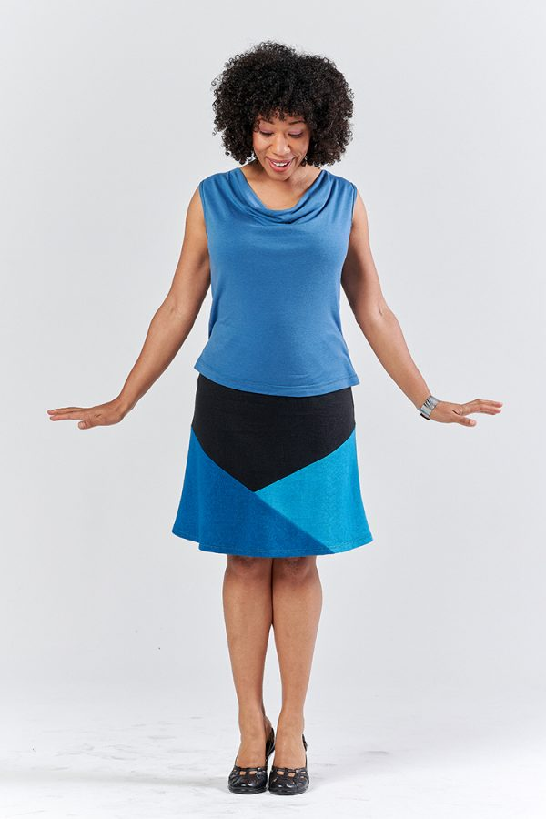 blue and black geometric color blocked hemp skirt