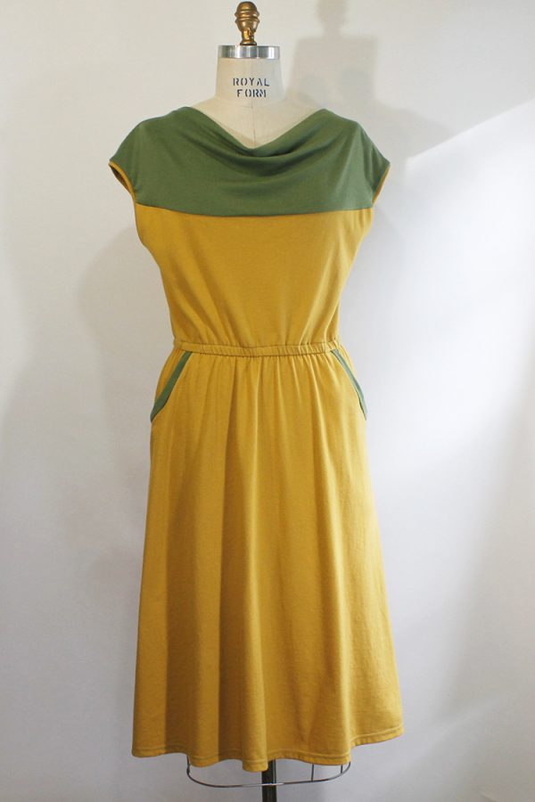 yellow and green organic cotton dress with pockets and a flowy feel