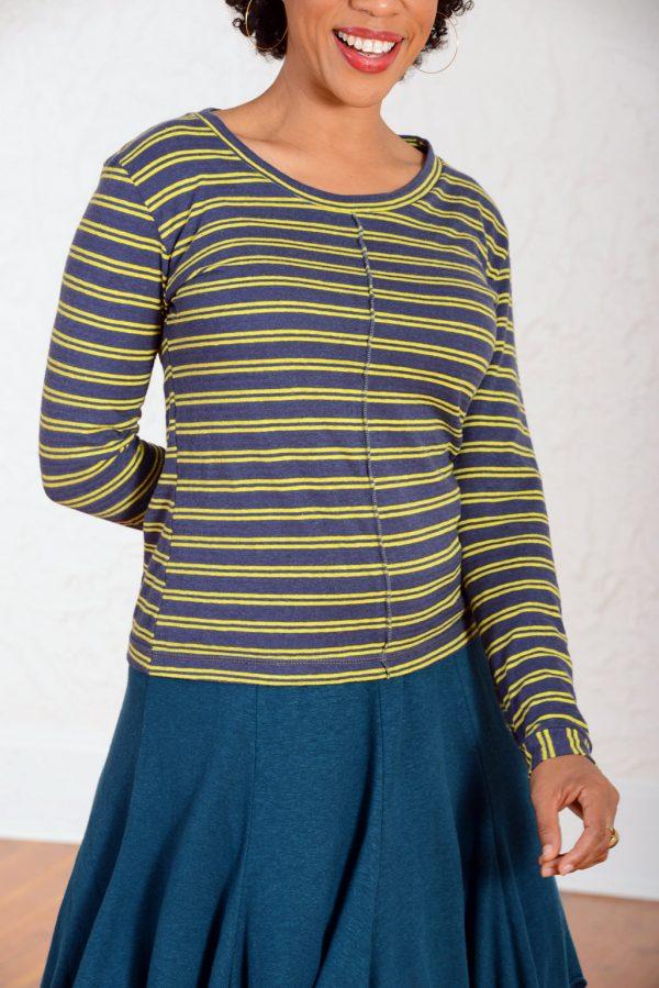 vivid element yellow striped jupiter top