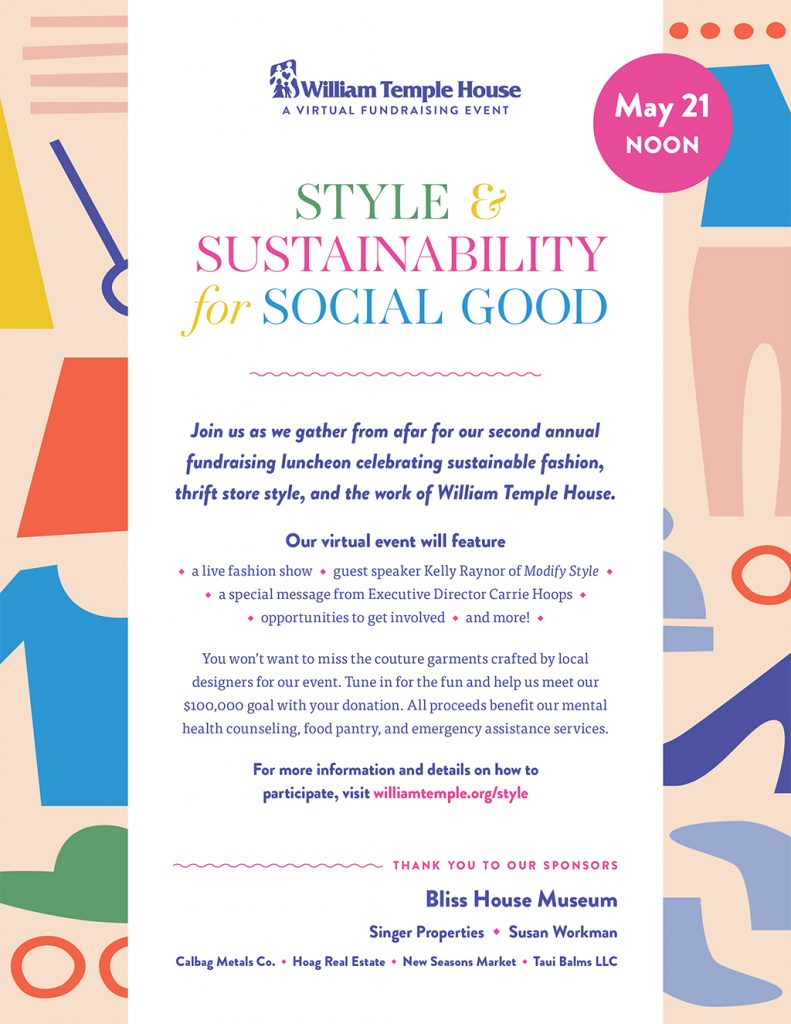 Style and Sustainability for Social Good Luncheon and fashion show now online, May 21, noon, William Temple House