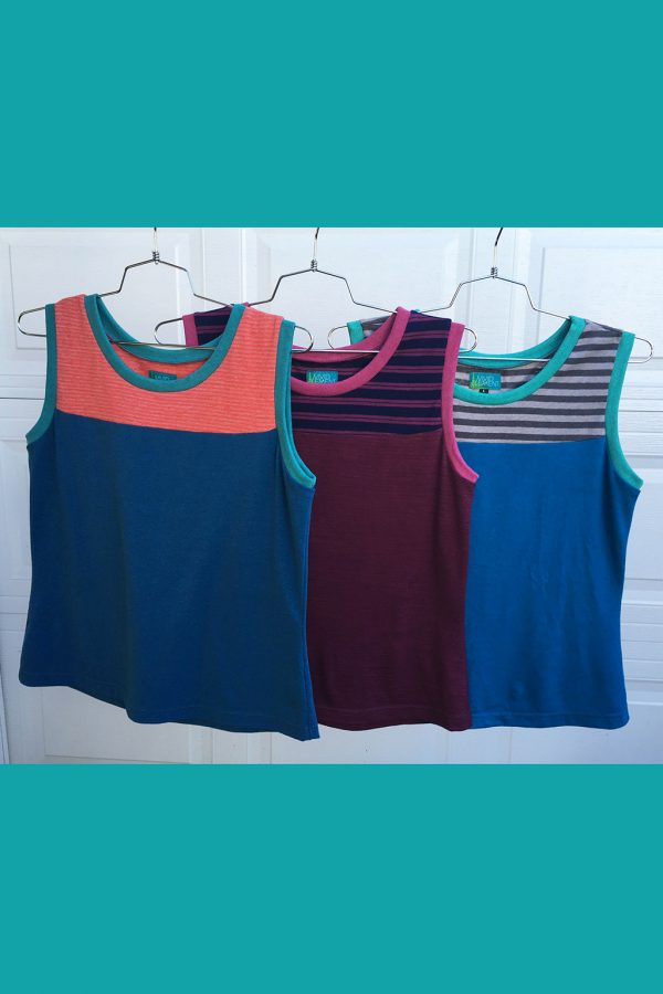 three bright tank tops with blue, orange, huckleberry and stripes
