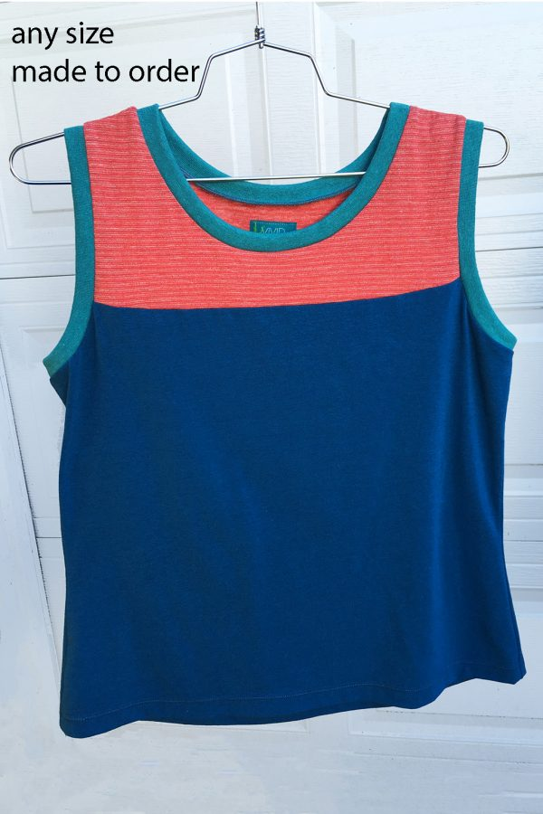 orange and blue tank top made to order in any size