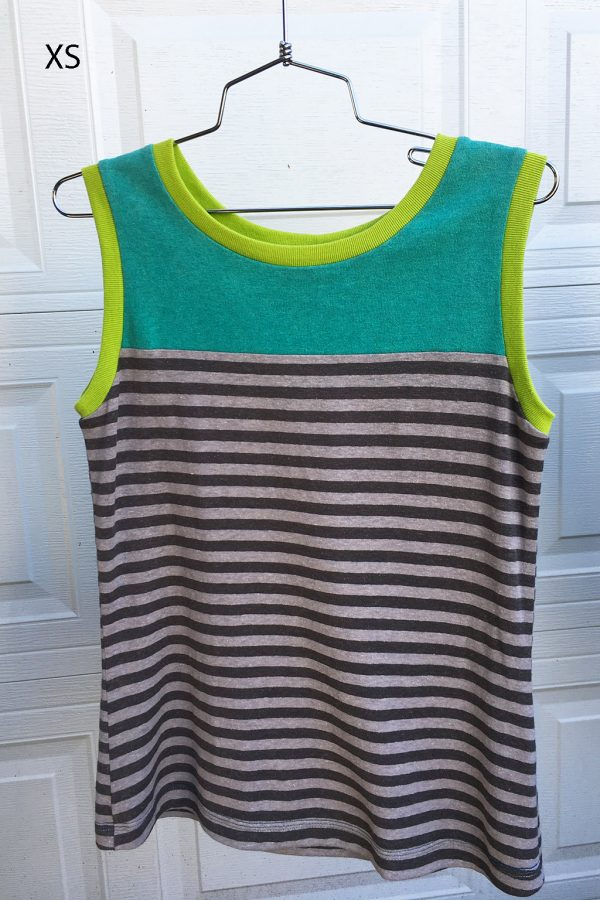 tank top with grey stripes and turquoise trim size XS
