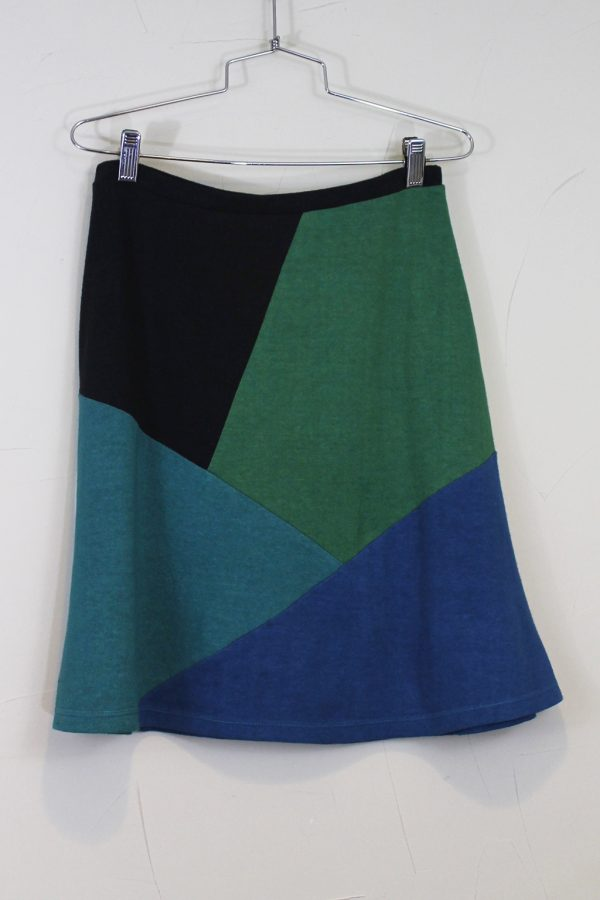 hemp skirt with crystal like facets of color, geometric shapes in blues, black and green.
