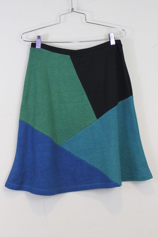 skirt in geometric pattern with green and blue
