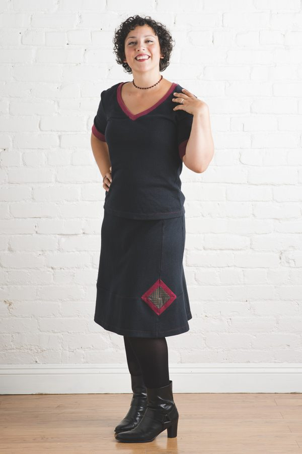 black hemp skirt on model with brown and red geode design