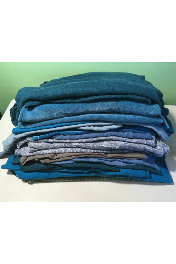 organic fabric remnants in blues