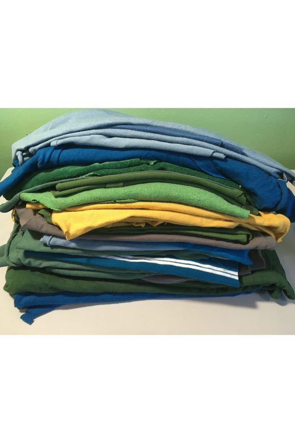 fabric remnants in blues, greens and yellow