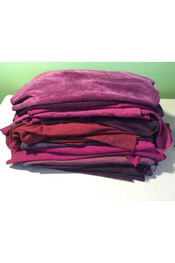 eco fabric scraps in purples and fuchsias